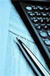 Financial calculator and a pen on a financial newspaper                                                                                                                                                  Stock Photo - Premium Rights-Managed, Artist: Glowimages               , Code: 837-03072970
