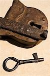 Close-up of a rusty lock with a key                                                                                                                                                                      Stock Photo - Premium Rights-Managed, Artist: Glowimages               , Code: 837-03073145