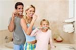 Family brushing teeth in the bathroom                                                                                                                                                                    Stock Photo - Premium Rights-Managed, Artist: Glowimages, Code: 837-03073415