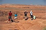 Tourists standing on an arid landscape,Horseshoe Bend,Page,Arizona,USA                                                                                                                                   Stock Photo - Premium Rights-Managed, Artist: Glowimages               , Code: 837-03073723