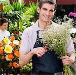 Florist making a bouquet of flowers                                                                                                                                                                      Stock Photo - Premium Rights-Managed, Artist: Glowimages               , Code: 837-03074113