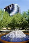 Fountain with an office building in the background,Phoenix,Maricopa County,Arizona,USA                                                                                                                   Stock Photo - Premium Rights-Managed, Artist: Glowimages               , Code: 837-03074504