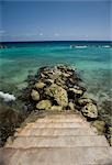 Steps Leading to Ocean, Curacao, Netherlands Antilles                                                                                                                                                    Stock Photo - Premium Rights-Managed, Artist: Gail Mooney              , Code: 700-03075720