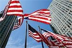American Flags at Rockefeller Center, GE Building in the Background, NYC, New York, USA Stock Photo - Premium Royalty-Free, Artist: Pierre Arsenault         , Code: 600-03075822