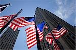 American Flags at Rockefeller Center, GE Building in the Background, NYC, New York, USA Stock Photo - Premium Royalty-Free, Artist: Pierre Arsenault         , Code: 600-03075825