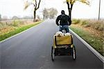 A man on a bike pulling a trailer with two dogs Stock Photo - Premium Royalty-Free, Artist: Minden Pictures, Code: 653-03079851