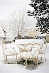 Patio furniture covered with thick layer of snow Stock Photo - Premium Royalty-Free, Artist: Sheltered Images, Code: 632-03083478