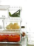 Glass boxes with mange tout,paprika and kohlrabi Stock Photo - Premium Royalty-Free, Artist: Photocuisine, Code: 689-03124086