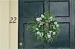 Wreath on Door Stock Photo - Premium Royalty-Free, Artist: Jean-Christophe Riou     , Code: 600-03152225