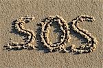 SOS Written in Sand Stock Photo - Premium Royalty-Free, Artist: Jean-Christophe Riou     , Code: 600-03152291