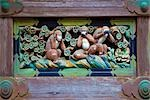 Three Monkeys Relief Sculpture, Toshogu Shrine, Nikko National Park, Japan Stock Photo - Premium Rights-Managed, Artist: Daryl Benson             , Code: 700-03152248