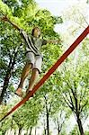 Boy Slacklining                                                                                                                                                                                          Stock Photo - Premium Rights-Managed, Artist: Bryan Reinhart           , Code: 700-03152347