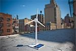 Model Wind Turbine on Rooftop                                                                                                                                                                            Stock Photo - Premium Rights-Managed, Artist: Steve Prezant            , Code: 700-03152542