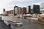 Tour Boat on River, Speicherstadt, Hafencity, Hamburg, Germany