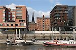 Waterfront in Speicherstadt, Hafencity, Hamburg, Germany