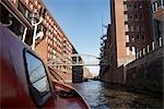 Boat on River in Speicherstadt, Hafencity, Hamburg, Germany