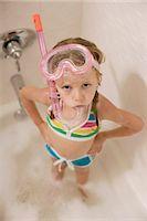 Girl with Snorkel in Bathtub Stock Photo - Premium Royalty-Freenull, Code: 600-03152945