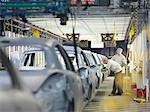 Car Plant Workers On Production Line                                                                                                                                                                     Stock Photo - Premium Royalty-Freenull, Code: 649-03154460