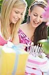 Close up of two teenaged girls lighting candles on a birthday cake Stock Photo - Premium Rights-Managed, Artist: ableimages, Code: 822-03161748