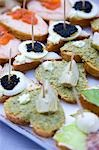 Close up of assorted open sandwiches Stock Photo - Premium Rights-Managed, Artist: ableimages, Code: 822-03161783
