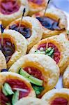 Close up of assorted mini pizzas Stock Photo - Premium Rights-Managed, Artist: ableimages, Code: 822-03161845