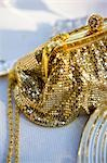 Gold chain mail handbag with rhinestone ball clasp
