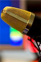 Extreme close up of a gold microphone Stock Photo - Premium Rights-Managednull, Code: 822-03162087