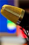 Extreme close up of a gold microphone Stock Photo - Premium Rights-Managed, Artist: ableimages, Code: 822-03162087
