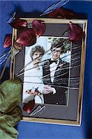 sad lovers break up - SHATTERED GLASS ON 1980s WEDDING PHOTO Stock Photo - Premium Rights-Managednull, Code: 846-03163743