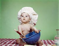 1960s BABY IN CHEF HAT WITH MIXING BOWL AND SPOON Stock Photo - Premium Rights-Managednull, Code: 846-03163752
