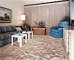 1960s LIVING ROOM SHAG CARPET SQUARE MODULE END TABLES SOFA CHAIR WINDOW CURTAINS
