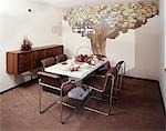 1970s DINING ROOM TABLE CHAIRS WALL DECOR MURAL OF TREE
