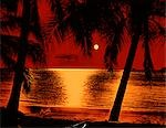 1960s 1970s RED YELLOW POSTERIZED SUNSET SILHOUETTED PALM TREES TROPICAL BEACH