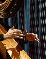 1960s CLOSE UP OF WOMAN'S HANDS PLAYING HARP PLUCKING STRINGS Stock Photo - Premium Rights-Managednull, Code: 846-03165052