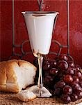 COMMUNION STILL LIFE CHALICE WINE GRAPES BREAD