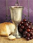 BREAD CHALICE WINE GRAPES COMMUNION STILL LIFE