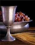 PEWTER CHALICE GRAPES STEMS OF WHEAT COMMUNION STILL LIFE