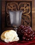 PEWTER WINE CHALICE BREAD GRAPES COMMUNION STILL LIFE