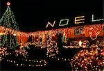1990s CHRISTMAS LIGHTS ON HOUSE WASHINGTON STATE USA