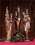 STATUES OF THE THREE WISE MEN KINGS MAGI AND A SPRIG OF HOLLY Stock Photo - Premium Rights-Managed, Artist: ClassicStock, Code: 846-03166216