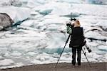 Woman Photographing Icebergs, Jokulsarlon, Iceland Stock Photo - Premium Rights-Managed, Artist: Thomas Kokta, Code: 700-03178460