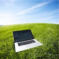 Still Life of Laptop Computer on Grass Stock Photo - Premium Rights-Managednull, Code: 700-03178526