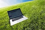 Still Life of Laptop Computer on Grass