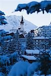 Church and Buildings, Arosa, Switzerland