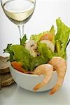 Close-up of prawns and salad served with bread Stock Photo - Premium Rights-Managed, Artist: Glowimages, Code: 837-03183243