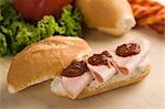 Close-up of a salami and salsa sandwich Stock Photo - Premium Rights-Managed, Artist: Glowimages, Code: 837-03185979