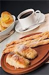 High angle view of Danish pastries served with coffee Stock Photo - Premium Rights-Managed, Artist: Glowimages, Code: 837-03186010