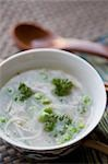 High angle view of pea and noodle clear soup Stock Photo - Premium Rights-Managed, Artist: Glowimages, Code: 837-03187183