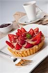 Close-up of strawberry tart Stock Photo - Premium Rights-Managed, Artist: Glowimages, Code: 837-03187439