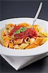 Close-up of rigatoni pasta topped with tomato concasse Stock Photo - Premium Rights-Managed, Artist: Glowimages, Code: 837-03187636